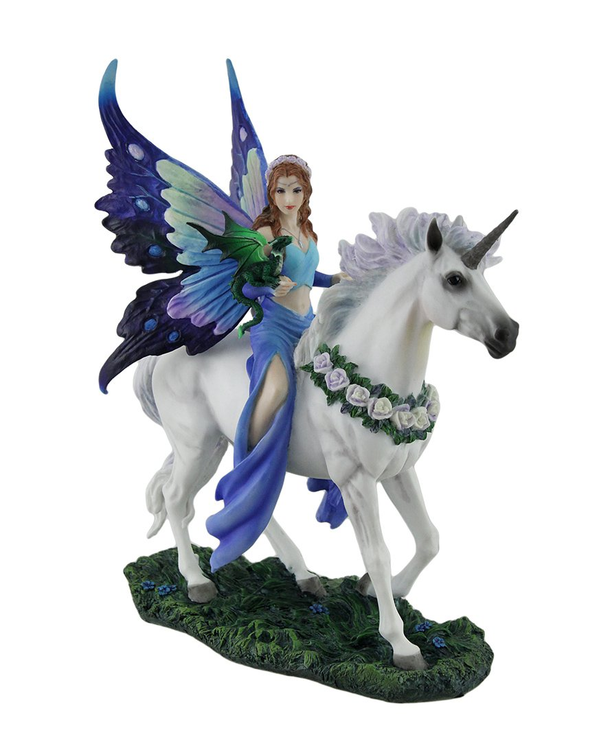 Veronese Polyresin Statues Anne Stokes Realm Of Enchantment Blue Fairy Statue 8 X 10.5 X 4 Inches Blue