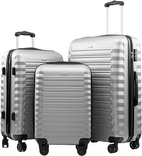 Seanshow Luggage Sets 3 Piece TSA Lock Spinner Suitcase Lightweight 20 24 28 inch silver