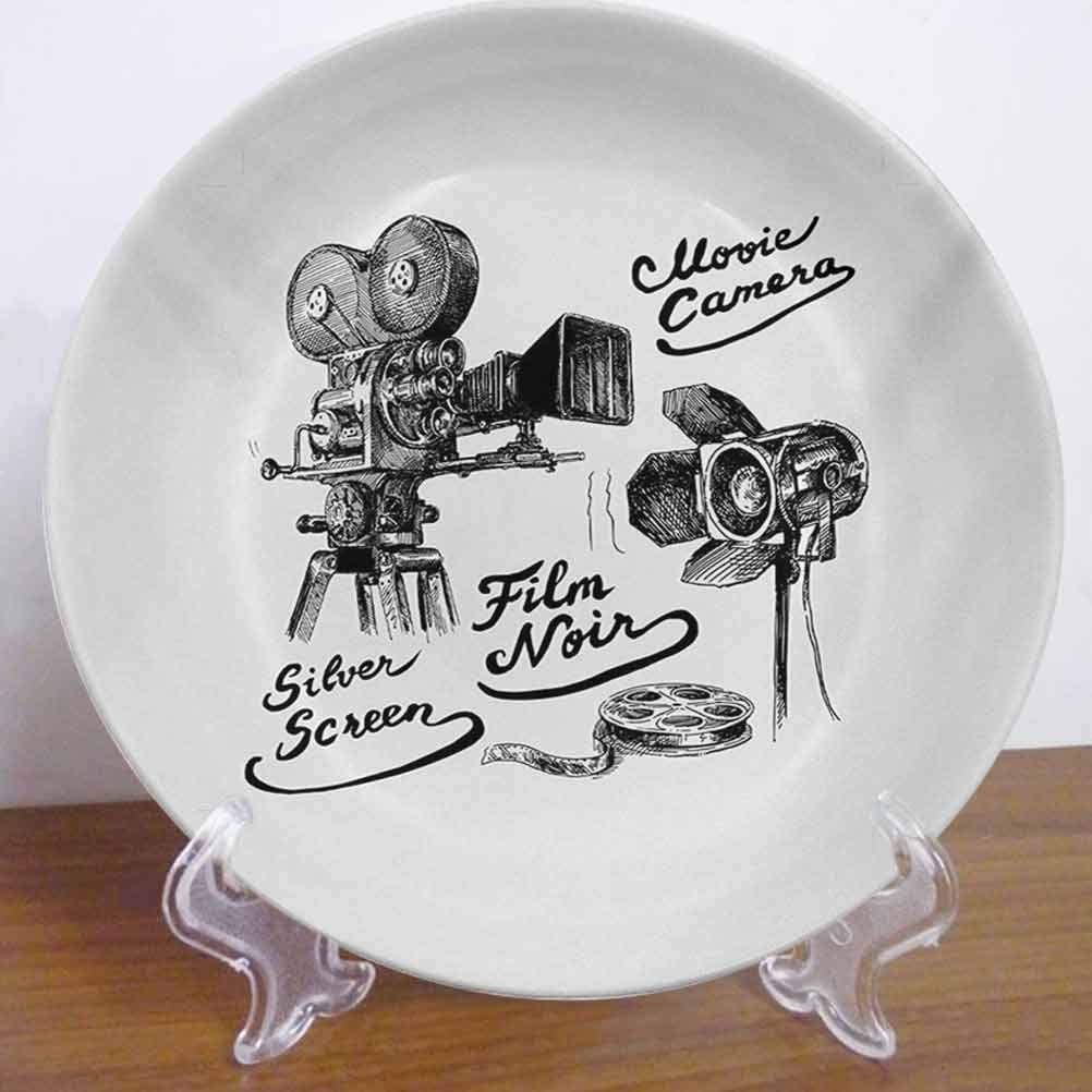 """Burton Edith Tablecloth 10"""" Movie Theater Ceramic Decorative Plate Cinematography Themed Artwork with Old Camera and Equipment Silver Screen Decor Accessory for Fine Dining, Parties, Wedding"""