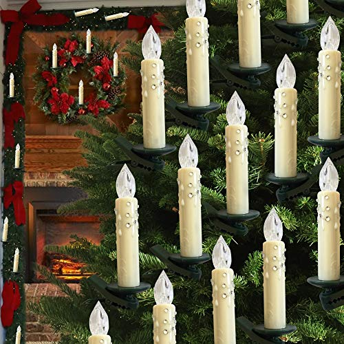 Hoolees' Classic 24Pcs LED Christmas Tree Candles, Wireless, TUV Listed, Battery Operated, Ivory with