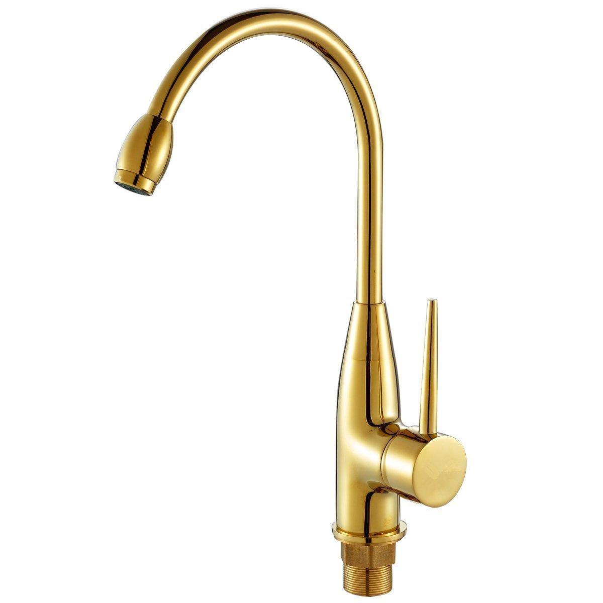 European-style retro basin faucet Antique gold faucet hot and cold faucet full copper kitchen faucet Tyrant Continental gilt gold faucet (hot and cold hose with 60CM) SLT