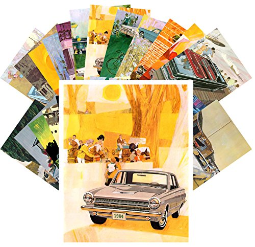 Postcard Set 24pcs Dodge Pontiac Classic Car American Advertizing Poster Ads