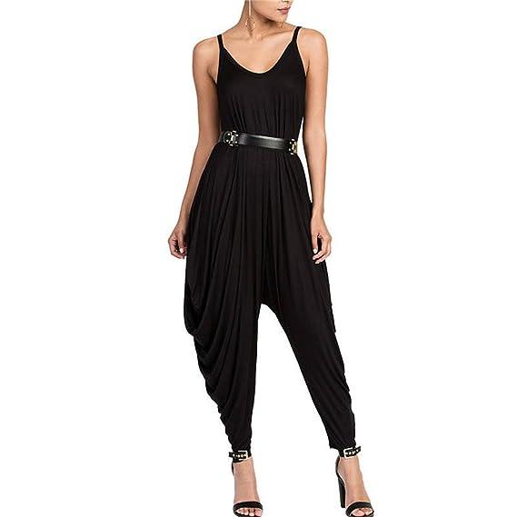 77358f36d28 Amazon.com  nboba Women Rompers V Neckline Loose Solid Plus Size Romper  Bodysuit Jumpsuit  Clothing