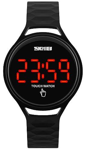 carlien mujeres relojes correa de PU Touch Protector de pantalla LED reloj Digital relojes de pulsera 30 m resistente al agua: skmei: Amazon.es: Relojes