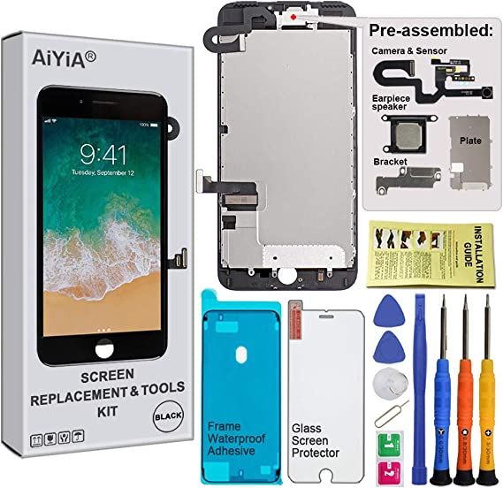 Screen Replacement Compatible with iPhone 7 Plus Full Assembly Fit Compatible with iPhone Plus-Black LCD 3D Touch Display Digitizer with Sensors and Front Camera