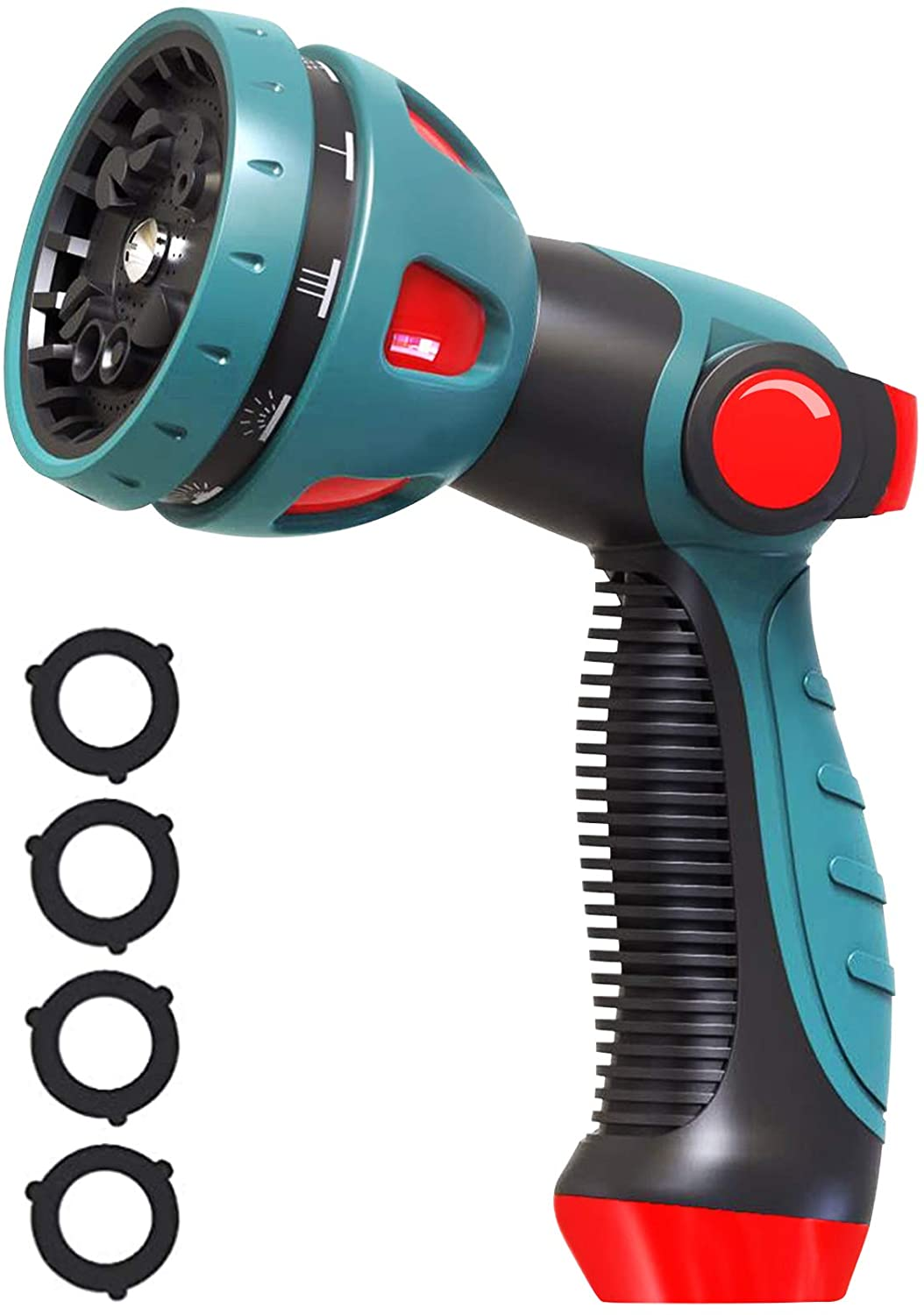 Garden Hose Nozzle, Metal Water Hose Nozzle Heavy Duty 10 Patterns Hose Spray Nozzle with Thumb Control for Watering Lawns,Car washing,Bathing Pets
