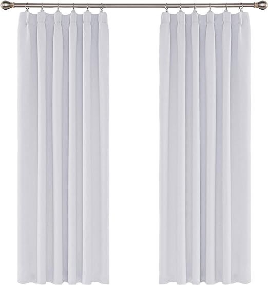 UMI. Essentials 2 Stück Kräuselband Vorhang Blickdicht Gardine Schlafzimmer  183x117 Weiß Grau