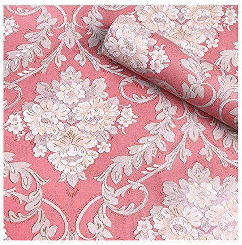 (HOYOYO 17x78 inches Pink Self-Adhesive Shelf Liner, Moisture Proof Dresser Drawer Paper Shelf Liner Mildew Proof Antifouling Contact Paper, Flowers Damask)