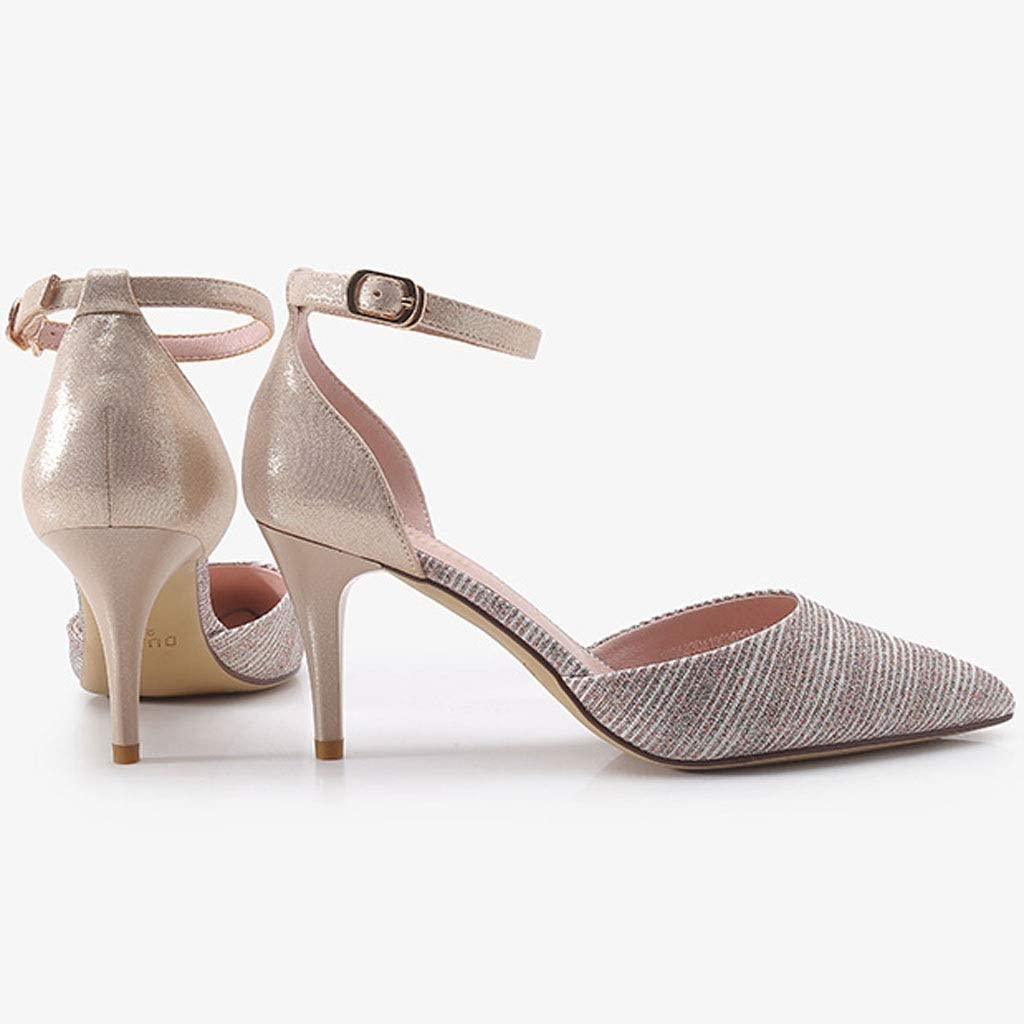 WRF Stiletto Pointed Shoes One-Button Buckle Adjustable Tightness PU Material 7.5cm High Heels Sandals Color : Gold, Size : 5.5 US