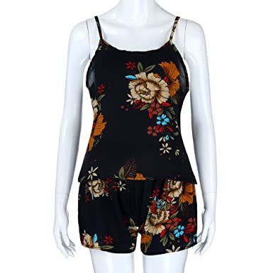 c4ee6671f0da Amazon.com  Handyulong Women Rompers Floral Print Cami Shorts Two Piece  Casual Beach Jumpsuit Playsuit for Teen Girls  Clothing