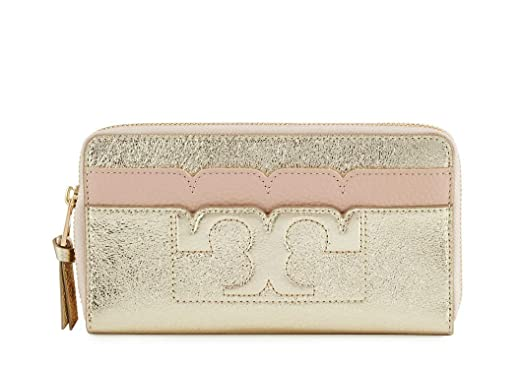 13938793ca Image Unavailable. Image not available for. Color: Tory Burch Scallop-T  Metallic Zip Continental Wallet ...