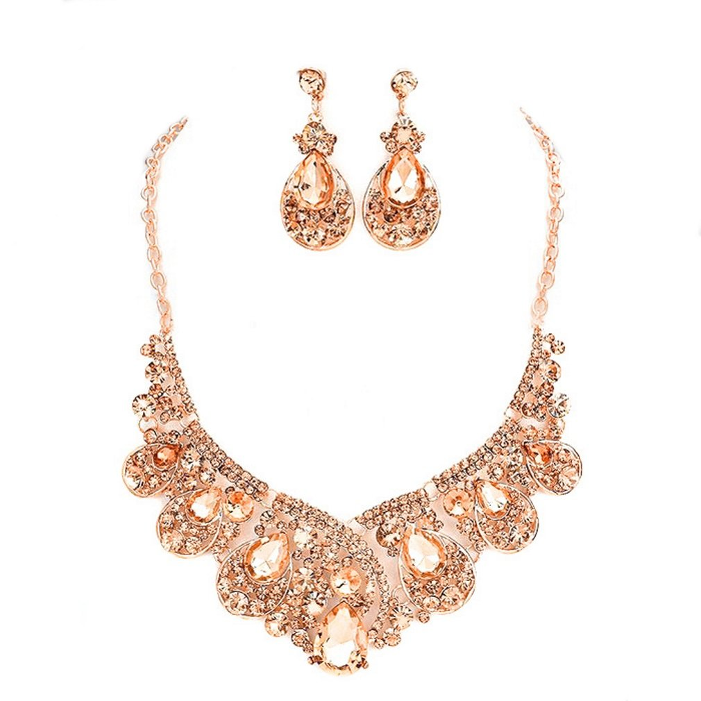 Chunky Peach Crystal Statement Rose Gold Chain Necklace Earrings Set Affordable Wedding Women's Jewelry