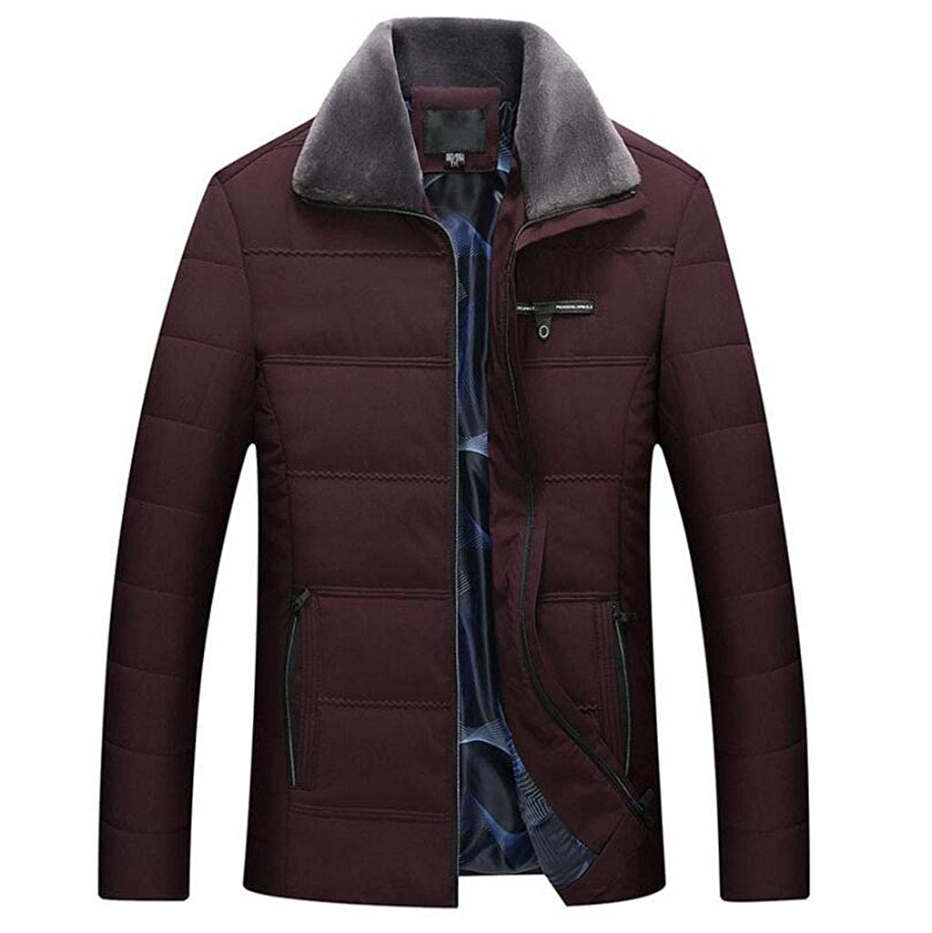 rouge L FGSJEJ Veste pour Homme - Veste Chaude pour Homme, Veste d'hiver légère, Veste imperméable, Manteau matelassé pour Homme d'Âge mûr