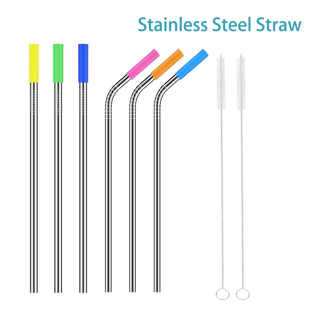 Stainless Steel Straw,Extra Long Smoothie 9.5in Reusable Metal Drinking Straws for Party,Mugs,Shakes,Tumblers,Cold Beverage,3 Straight Straw,3 Bent Straw,2 Cleaning.