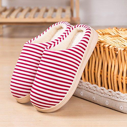 Y-Hui Winter Home la mitad de un paquete con dos rayas de algodón cálido invierno zapatillas de algodón,4243 Código (por 4142 pies),Rojo profundo