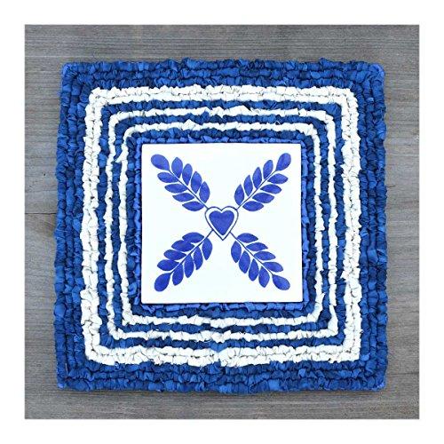 Color Crazy Heart Vine Mat Locker Hooking Kit - Blue Stripes - Blue Vine Stripe