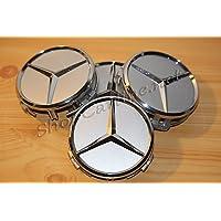 4x 75 mm TAPPI CENTRALE CERCHI IN LEGA HUB CAPS NERO Classico Per Mercedes Benz
