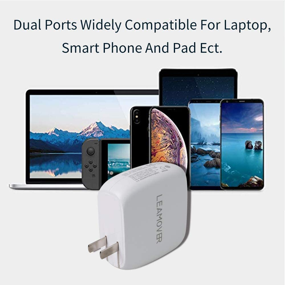 USB C Wall Charger 65W 2 Port Type C Type A Fast Travel Charger,Compatible with PD3.0 and Charge for iPhone 11//11 Pro 11 Pro Max,MacBook Pro Air iPad Pro 2018 and More
