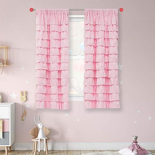 WestWeir Pink Ruffle Curtain