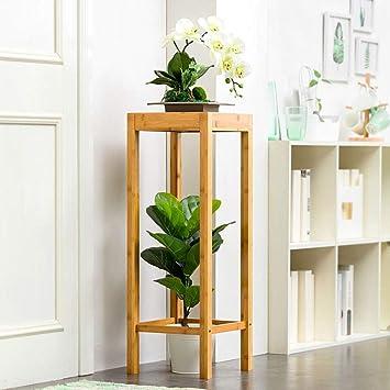 Soporte de flores Porche cubierto 2 pisos balcón sala de estar espacio de maceta de madera