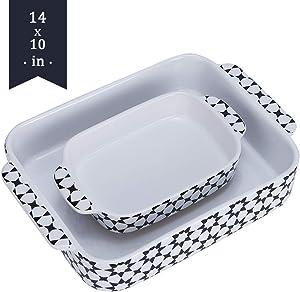 Bakeware Set,SIDUCAL 2 PCS Ceramic Baking Dish Set,Rectangular ServingBakeware with Heat-Resistant,14x10 Inches,Black