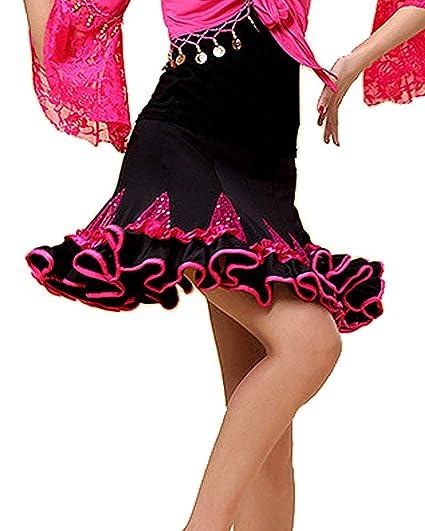 Grouptap Vestido de Falda de Baile Latino Que se encrespa Rosa ...