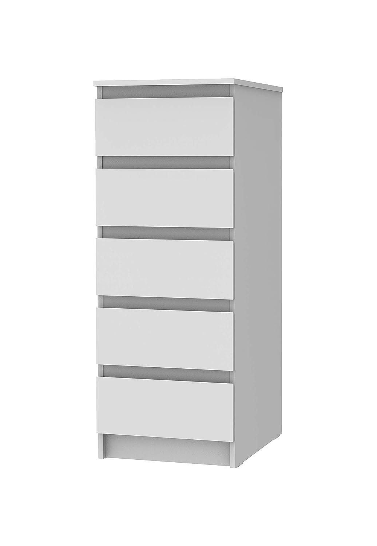 Modern White Medium Madesa cassettiera 5/cassetti Grigio o Bianco Tavolo Display unit/à di memorizzazione Camera da Letto Soggiorno