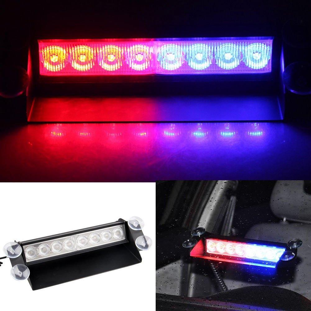 8 Led Car Truck Police Red Blue Emergency Flashing Light Flash Dash Lamp 12V