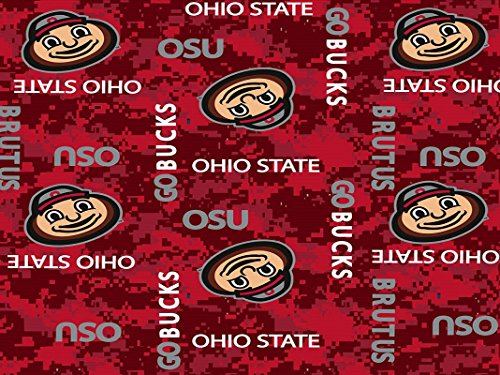 (OHIO STATE FLEECE BLANKET FABRIC-OHIO STATE BUCKEYES FLEECE FABRIC-CAMOUFLAGE DESIGN)