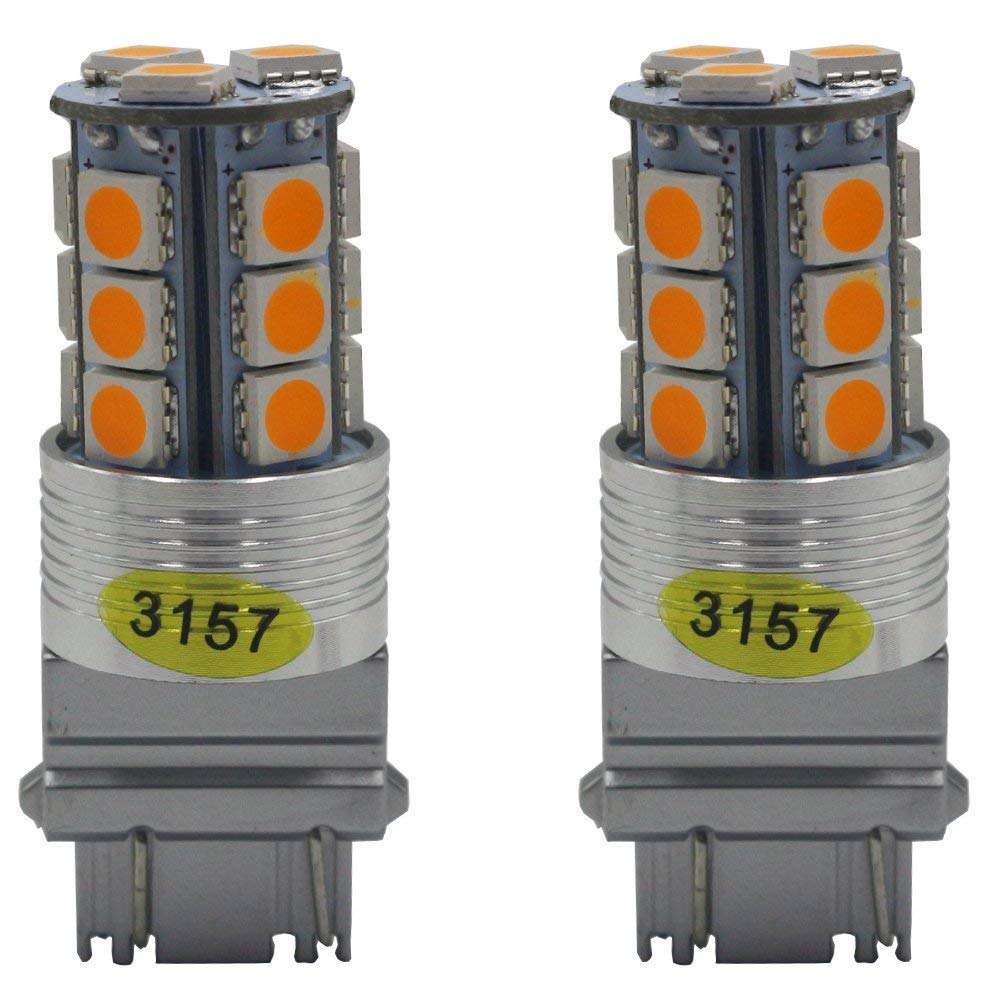 2-Pack 3157 3047 3057A 4157 Extremely Bright Amber//Yellow LED Light 12V-24V DC,5050 18 SMD Car Replacement For Parking Turn Signal Light Lamps Tail Blinker Bulbs AMAZENAR AZ-3157-18L-A