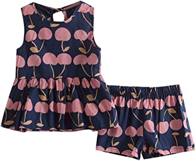 Girls Summer Light Pink with Navy /& White Ruffle Short Set 1-6
