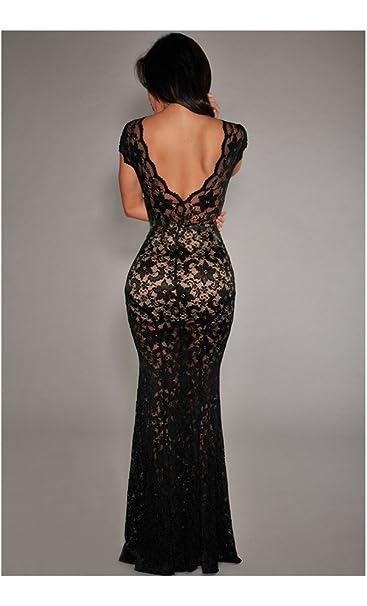 e14dfd2d398d7 Mela Proibita Vestito donna abito lungo elegante ROSSO NERO capodanno  scollatura sulla schiena - Nero