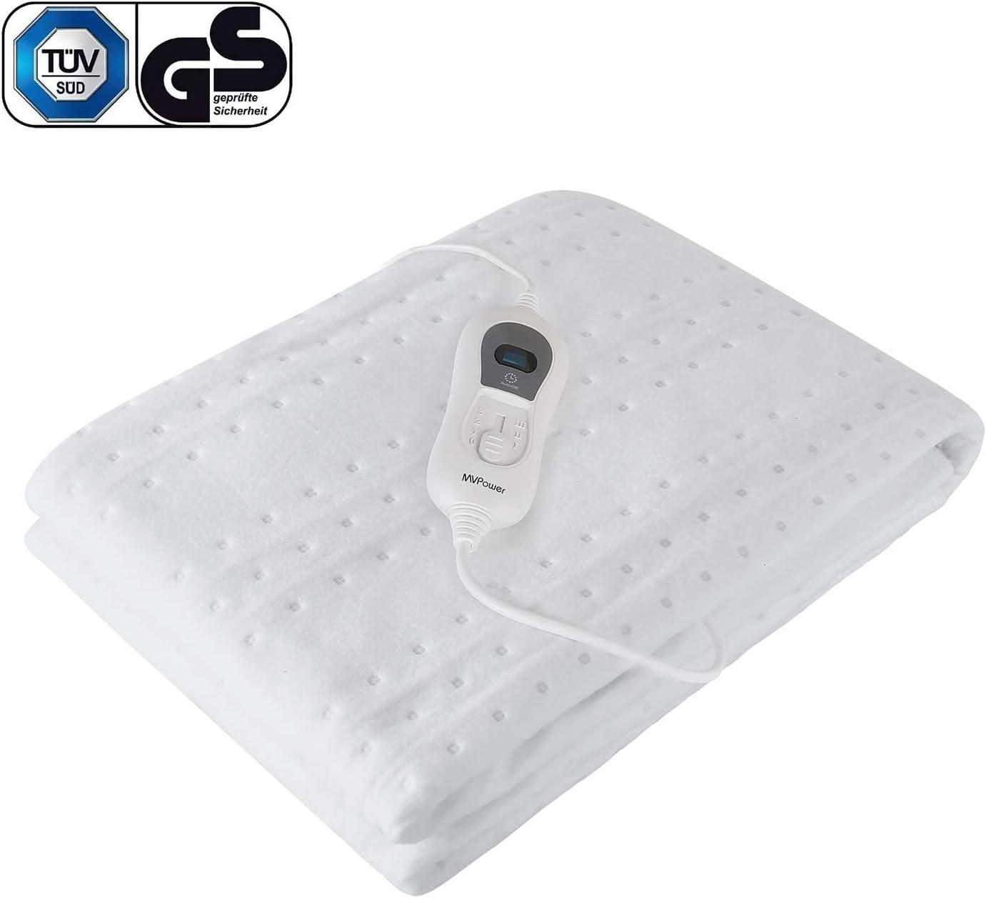 MVPower Calienta Camas Eléctrico Individual 3 configuraciones de temperatura y apagado automático protección contra sobrecalentamiento mantas calefactoras lavables (150 * 80cm, blanco)