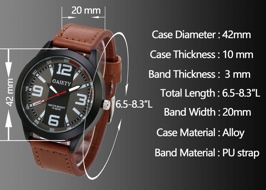 JSDDE Montre à Quartz Homme Bracelet PU Style Sportif Montre Bracelet Fil de Suture Montre Etanche Noir
