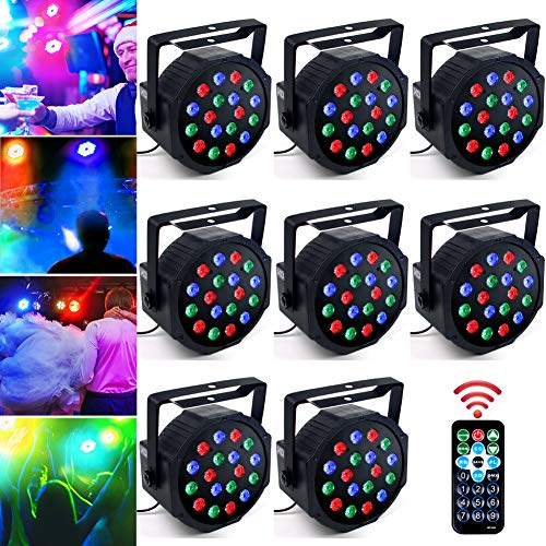 KOOT DJ Stage Light 18 LEDs Par Lighting with RGB - Up Lighting Disco Party Light Club Lights Controlled by Remote and DMX Control - Best for DJ Club Bar Wedding Show(8 pack)