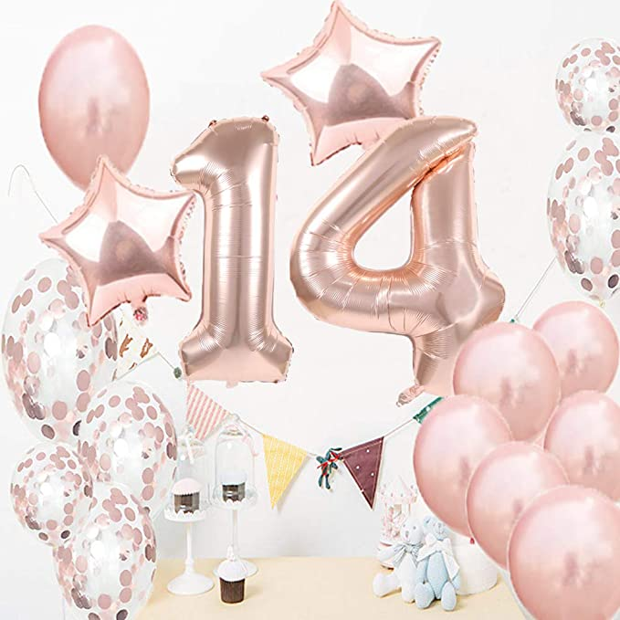 Giant 14th Glitz Birthday Party Number 14 Foil Helium Air Balloon Decoration Age