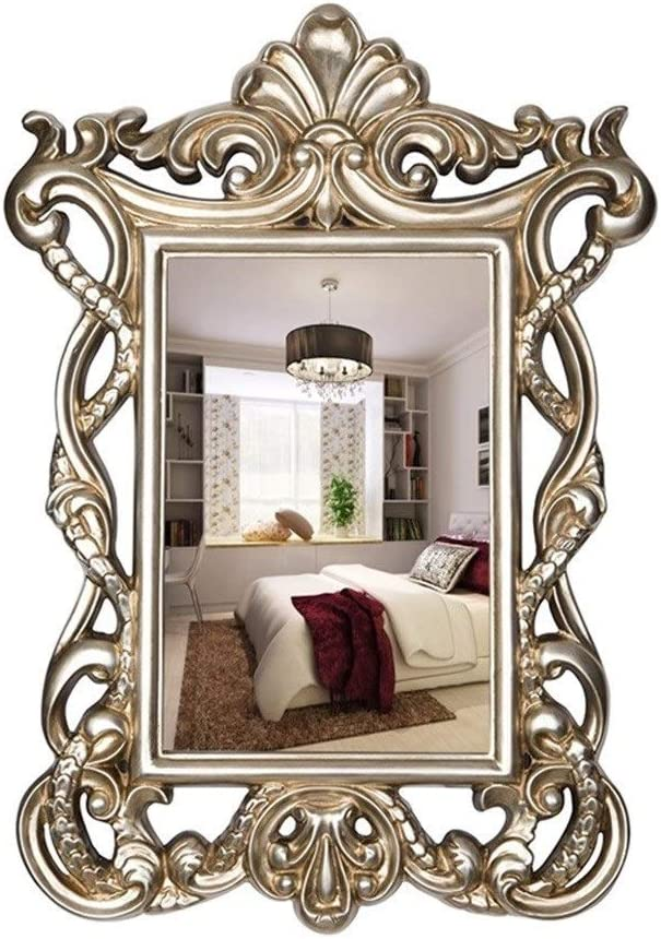 Amazon Com Wxf Wall Mirror Decor Rectangle Wall Mounted Antique Vanity Mirror Gold Framed Bedroom Furniture Bathroom Dressing Room Decorative Mirror Color Silver Home Kitchen