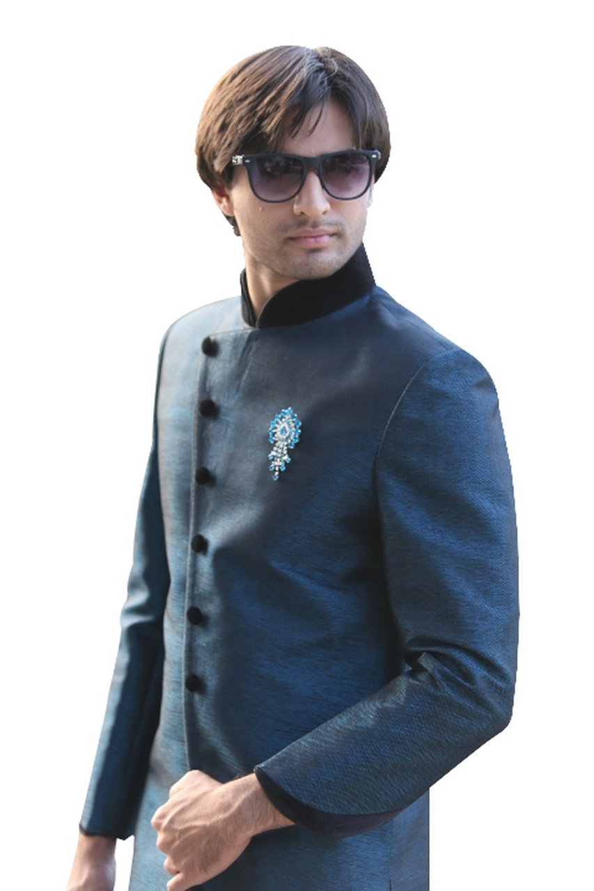 Evening Blue Indian Wedding Indo-Western Sherwani for Men by Saris and Things (Image #2)