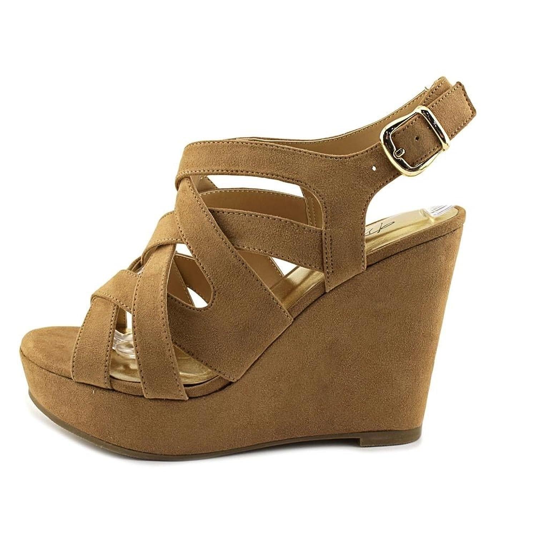 Thalia Sodi Womens maddof Open Toe Ankle Strap Mules tan w Size 8.5