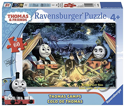 Ravensburger Thomas The Tank Puzzle - Ravensburger Thomas and Friends: Thomas Camps Glow-in-the-Dark Giant Floor 60 Piece Jigsaw Puzzle for Kids – Every Piece is Unique, Pieces Fit Together Perfectly