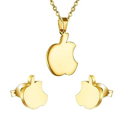 Amazoncom Apple Jewelry Set Stainless Steel Forbidden Fruit Set