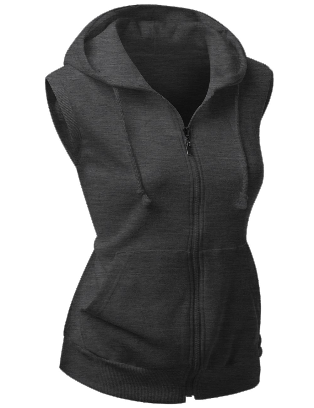 Basic Solid Cotton Based Zipper Vest Hoodie Charcoal Size XL