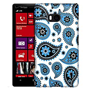Nokia Lumia 929 Case, Slim Fit Snap On Cover by Trek Paisleys Cute Blue on White Case