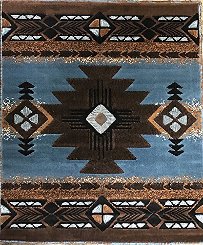 South West Native American Area Rug Blue Brown Concord Design