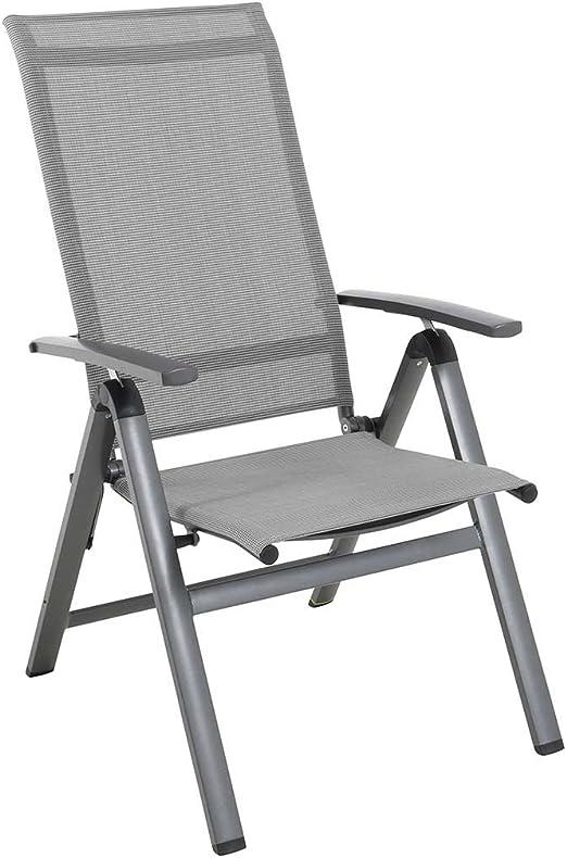 MWH Fabulo - Sillón plegable para jardín (aluminio/tela, respaldo regulable), color gris y plateado: Amazon.es: Hogar