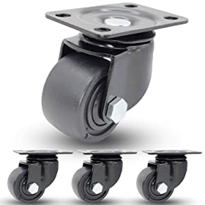 "Casoter 2.5"" Extra Width Wheel Heavy Duty Caster, Metal Housing Low Gravity Center Design 360 Degree Swivel w/Black PP Wheel, Double Ball Bearing Top Plate Mounted, Total 1750Lbs Load Capacity 4-Pack"