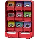 Mind Reader - Soporte para bolsas de té con 9 cajones extraíbles y organizador para condimentos, color rojo