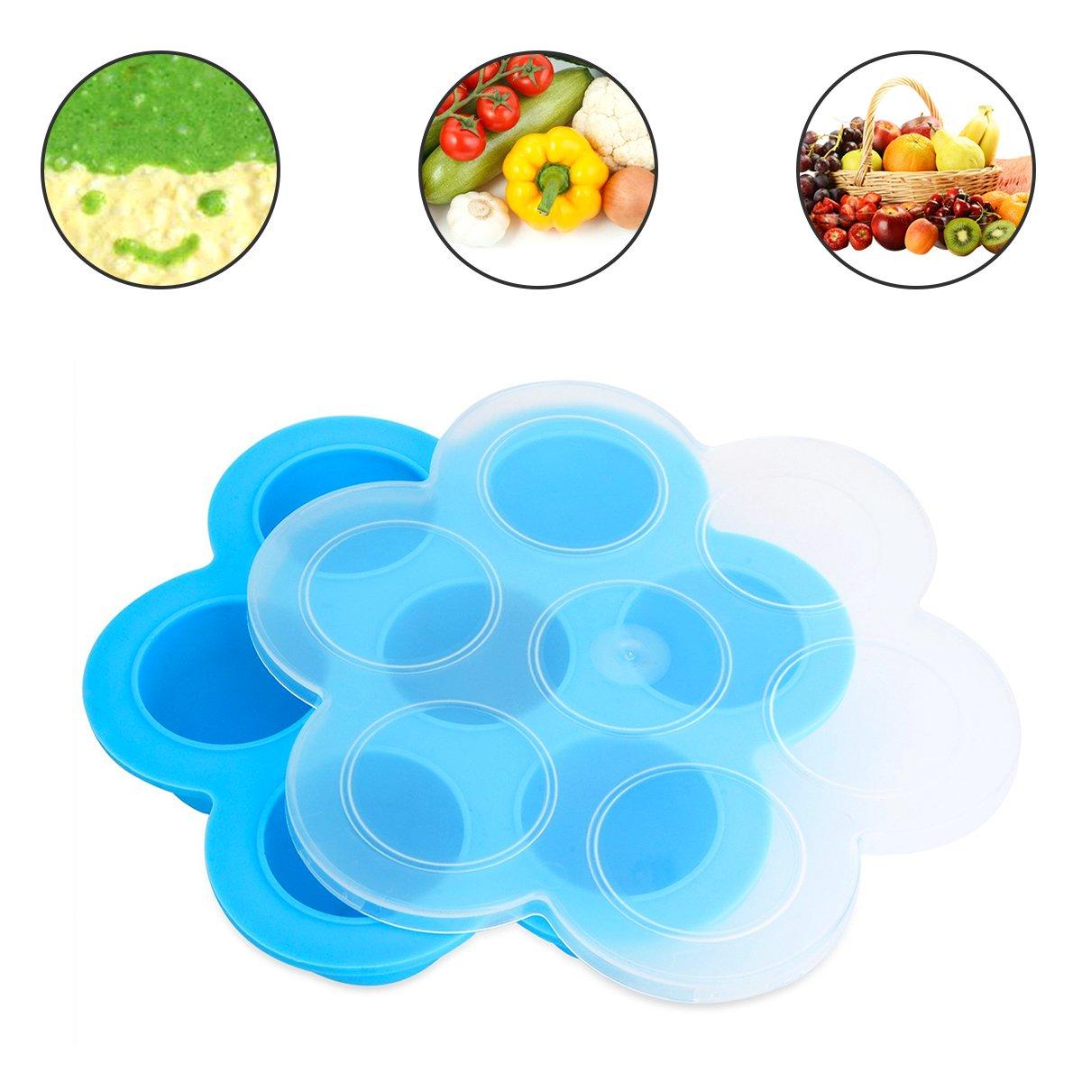 JER Silicone Moules à oeuf Dispositif Ustensiles de Cuisine pour pot instantané 5,6,8 qt Contenants de stockage de moules réutilisables Aliments pour bébés faits maison - Légumes, purées de fruits