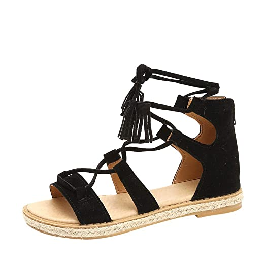 1457a48390ad4 Gladiator Flat Sandals for Womens Casual Open Toe Criss-Cross Ankle Strap  Bohemia Ankle High