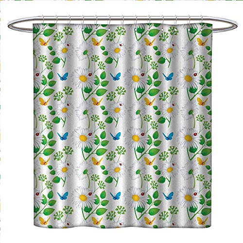 Anniutwo Ladybugs Shower Curtains Fabric Extra Long Macro Chamomiles and Ladybugs Illustration Playful Magic Spirits of The Nature Bathroom Set with Hooks W69 x L75 White Green